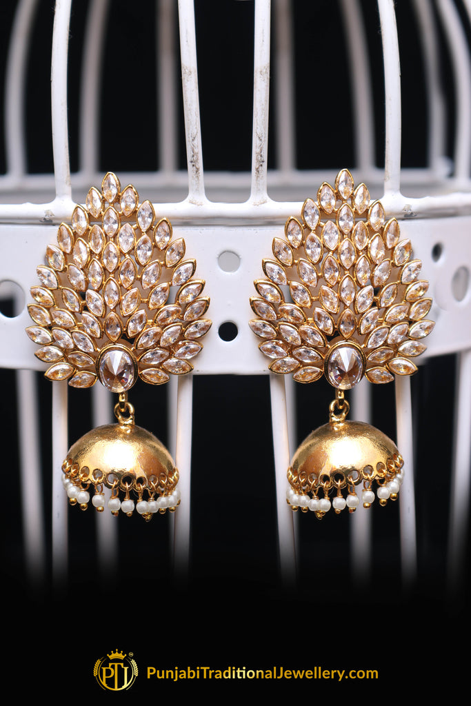 Jhumki With Polki Earrings By Punjabi Traditional Jewellery