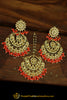 Orange Kundan Earring Tikka Set By Punjabi Traditional Jewellery