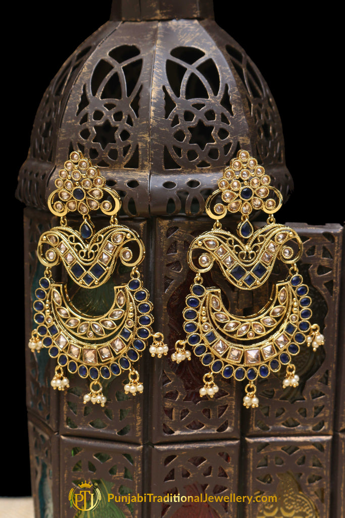 Blue Champagne Stone Earrings By Punjabi Traditional Jewellery