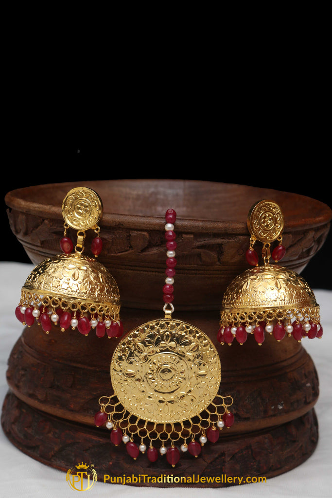 Red Jhumki Earrings & Tikka Set By Punjabi Traditional Jewellery
