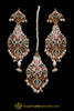 Multi Jadau Pearl Earring Tikka Set By Punjabi Traditional Jewellery