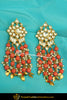 Gold Finished Orange Pippal Patti Kundan Earrings | Punjabi Traditional Jewellery Exclusive