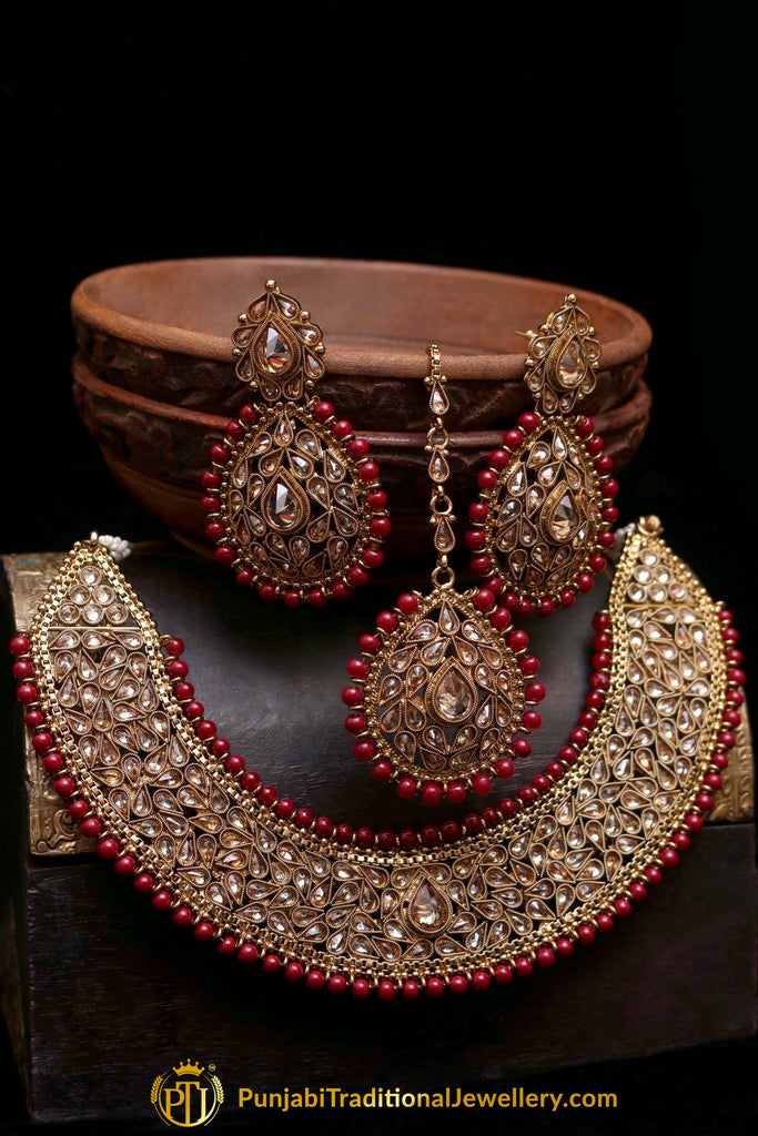 Waabasta Polki Nacklace Set By Punjabi Traditional Jewellery