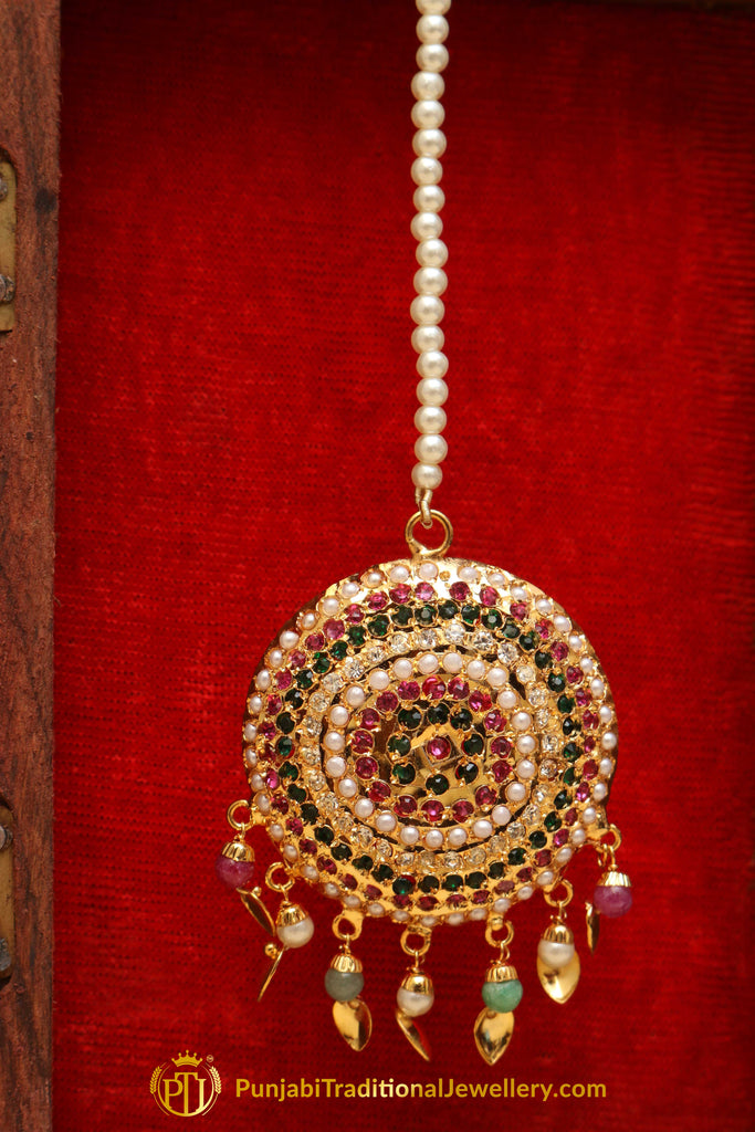 Multi Jadau Pippal Patti Tikka By Punjabi Traditional Jewellery