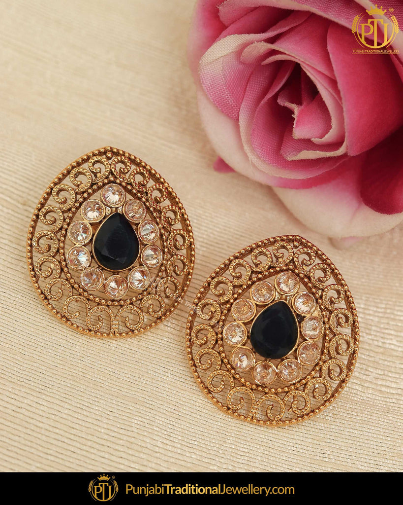 Antique Gold Finished Black Polki Stud Earrings | Punjabi Traditional Jewellery Exclusive