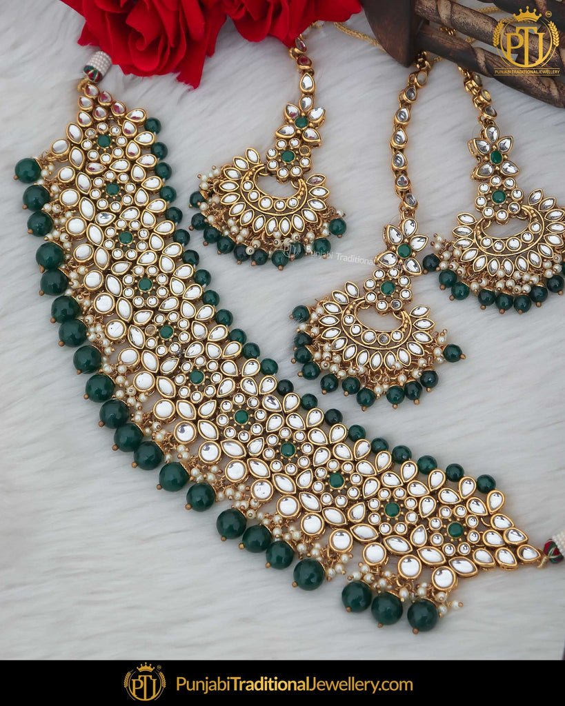 Gold Finished Kundan Pearl Green Choker Necklace Set | Punjabi Traditional Jewellery Exclusive