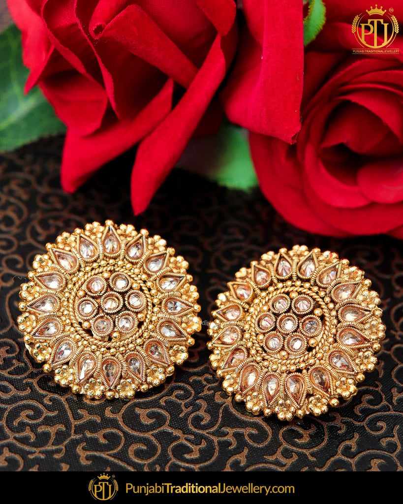 Antique Gold Finished Pearl Stud Earrings | Punjabi Traditional Jewellery Exclusive