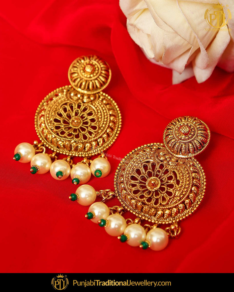 Antique Gold Finished Pearl Earrings | Punjabi Traditional Jewellery Exclusive