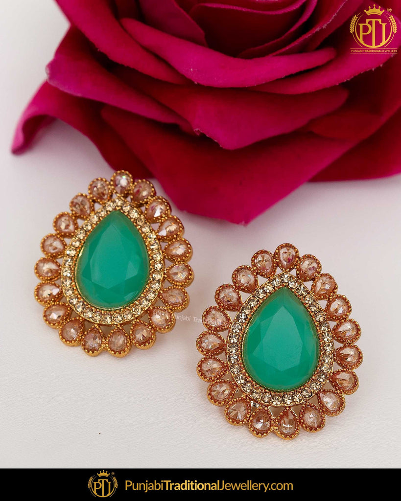 Gold Finished Chamapgne Stone Emerald Stud Earrings | Punjabi Traditional Jewellery Exclusive