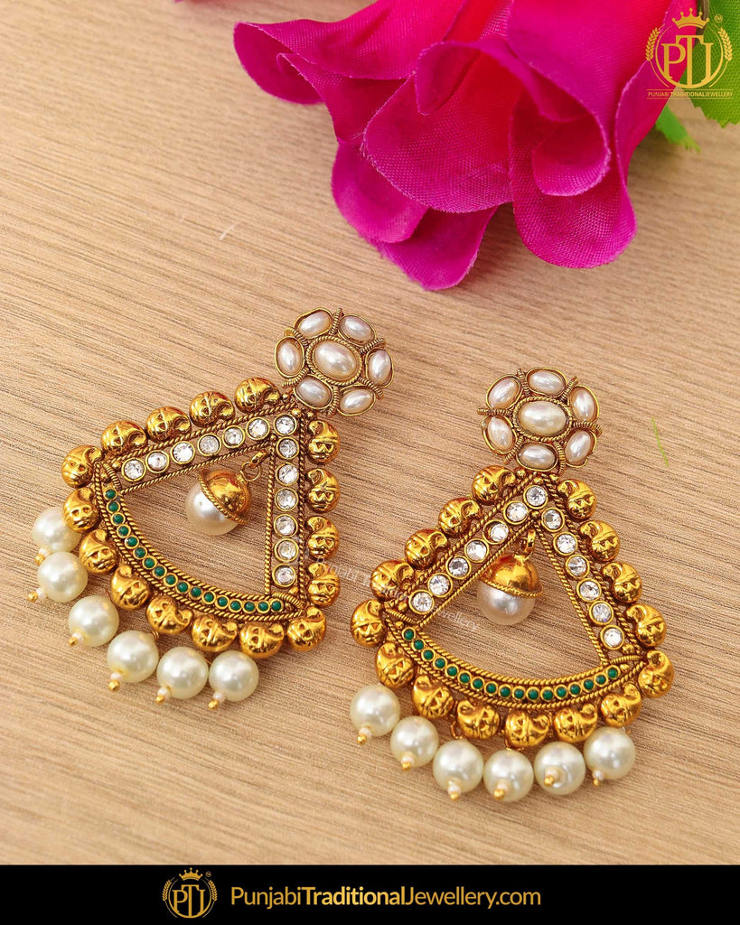 Antique Gold Finished Kundan Pearl Earrings | Punjabi Traditional Jewellery Exclusive
