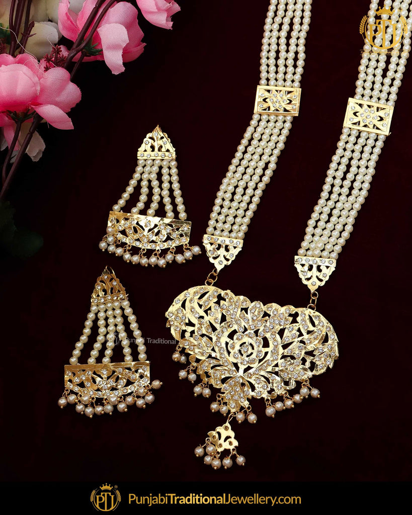 Gold Finished Pearl Jadau Pearl Long Necklace Set | Punjabi Traditional Jewellery Exclusive