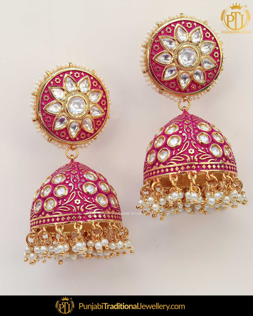 Hand Painted Meena Kundan Pink Jhumki Earrings | Punjabi Traditional Jewellery Exclusive