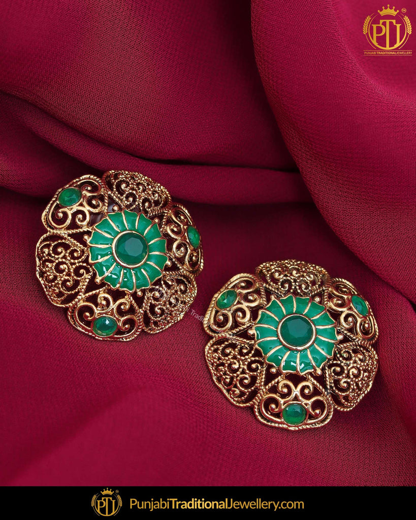 Gold Finished Emerald Pearl Stud Earrings | Punjabi Traditional Jewellery Exclusive