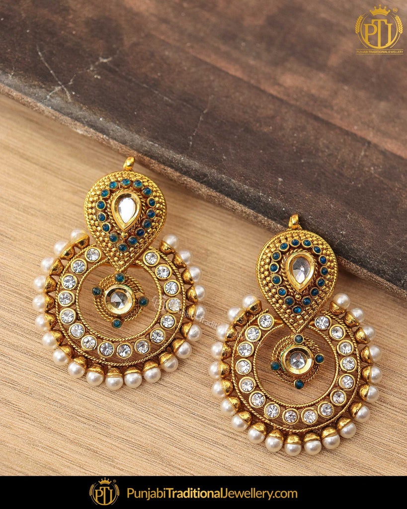 Antique Gold Finished Blue Kundan Pearl Earrings | Punjabi Traditional Jewellery Exclusive