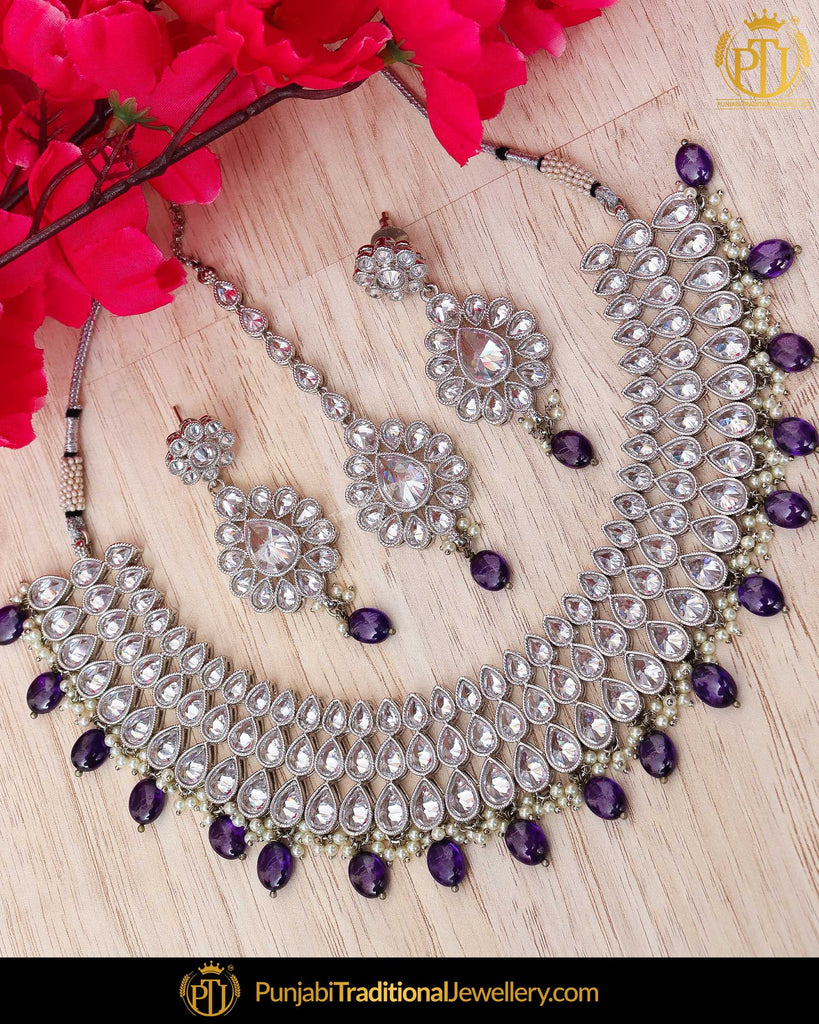Silver Finished Pearl Polki Blue Necklace Set | Punjabi Traditional Jewellery Exclusive