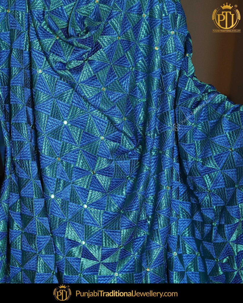 Blue & Firozi Double Color Phulkari | Punjabi Traditional Jewellery Exclusive