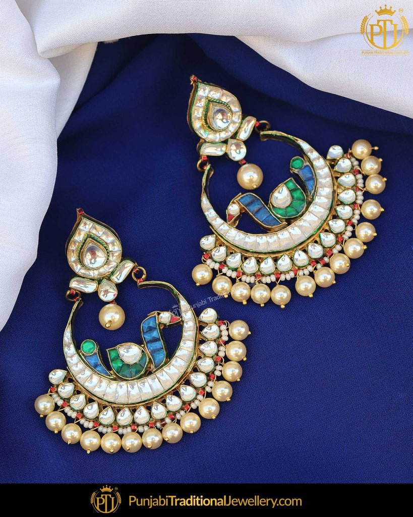 Gold Finished Emerald Blue Pearl Earrings | Punjabi Traditional Jewellery Exclusive