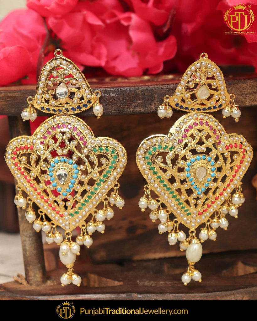 Gold Finished Jadau Pearl Multi Earrings | Punjabi Traditional Jewellery Exclusive