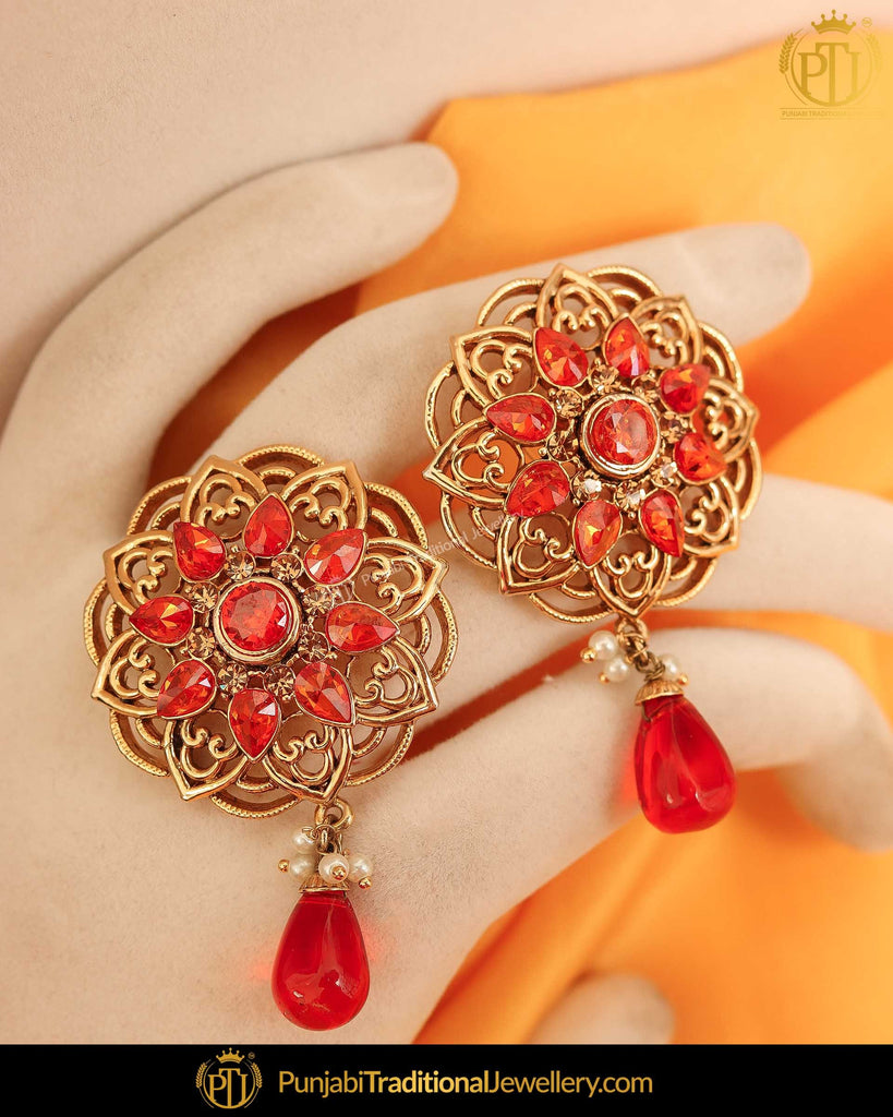 Gold Finished Oragne Stud Earrings | Punjabi Traditional Jewellery Exclusive
