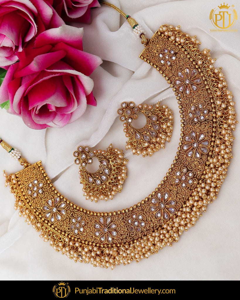 Antique Gold Finished Pearl Polki Necklace Set | Punjabi Traditional Jewellery Exclusive