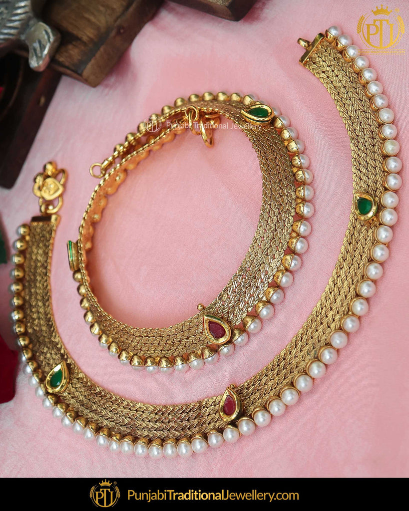 Gold Finished Jerkan Rubby Emerald Payal | Punjabi Traditional Jewellery Exclusive