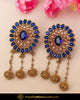Gold Finished Chamapgne Stone Blue Stud Earrings | Punjabi Traditional Jewellery Exclusive