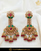 Gold Finished Chamapgne Stone Rubby Emerald Earrings | Punjabi Traditional Jewellery Exclusive