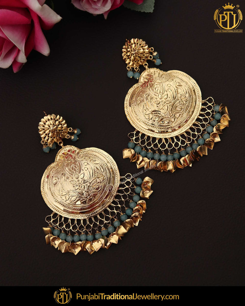 Antique Gold Finished Patra Firozi Pippal Patti Pearl Earrings | Punjabi Traditional Jewellery Exclusive