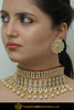 Ghaniyah Gold Finished Pearl Kundan Stud Earrings & Choker Set | Punjabi Traditional Jewellery Exclusive