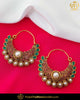 Gold Finished Emerald Rubby Pearl Earrings | Punjabi Traditional Jewellery Exclusive