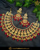 Gold Finished Rubby Kundan Necklace Set | Punjabi Traditional Jewellery Exclusive