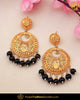 Antique Gold Finished Black Pearl Earrings | Punjabi Traditional Jewellery Exclusive