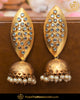 Gold Finished Polki Jhumki Earrings | Punjabi Traditional Jewellery Exclusive