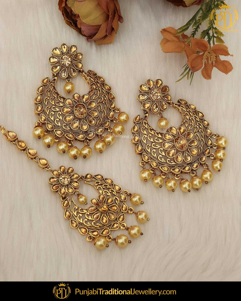 Gold Finished Golden Kundan Earring Tikka Set | Punjabi Traditional Jewellery Exclusive