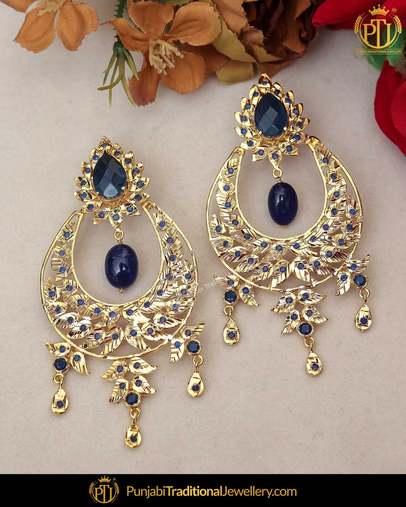 Gold Finished Blue Jadau Pearl Earrings | Punjabi Traditional Jewellery Exclusive