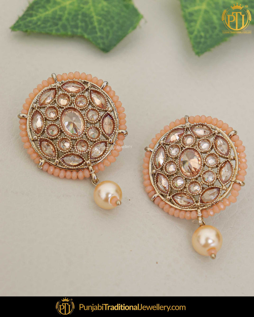 Gold Finished Peach Champagne Stone Pearl Stud Earrings | Punjabi Traditional Jewellery Exclusive