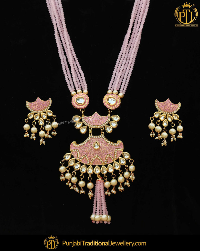 Gold Finished Pink Kundan Long Pearl Necklace Set | Punjabi Traditional Jewellery Exclusive