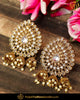 Gold Finished Chamapgne Stone Pearl Stud Earrings | Punjabi Traditional Jewellery Exclusive