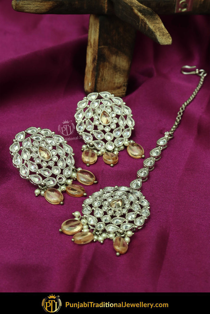 Silver Finished Polki Stone Peach Oversized Stud Earrings & Tikka Set By Punjabi Traditional Jewellery