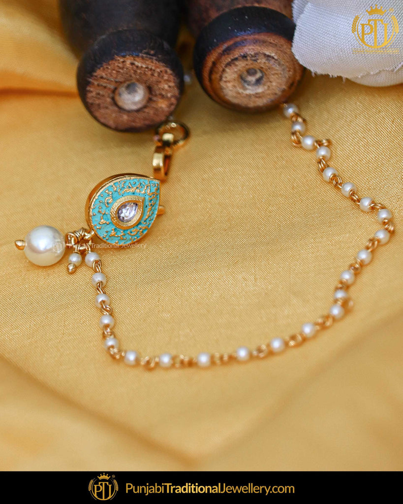 Gold Finished Firozi Kundan Without hole Nose Pin with Chain | Punjabi Traditional Jewellery Exclusive