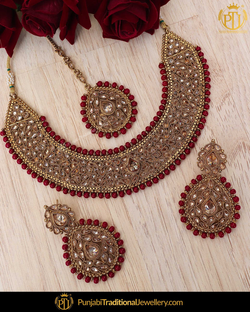 Antique Gold Finished Rubby Chamapgne Stone Necklace Set | Punjabi Traditional Jewellery Exclusive