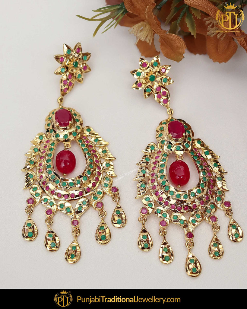 Gold Finished Red Emerald Jadau Pearl Earrings | Punjabi Traditional Jewellery Exclusive