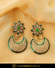 Hand Painted Emerald Pearl Earrings | Punjabi Traditional Jewellery Exclusive