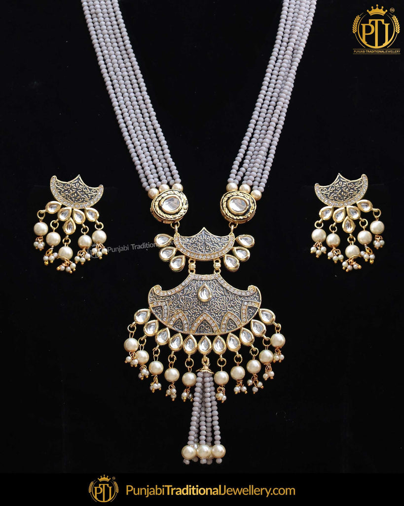 Gold Finished Purple Kundan Long Pearl Necklace Set | Punjabi Traditional Jewellery Exclusive