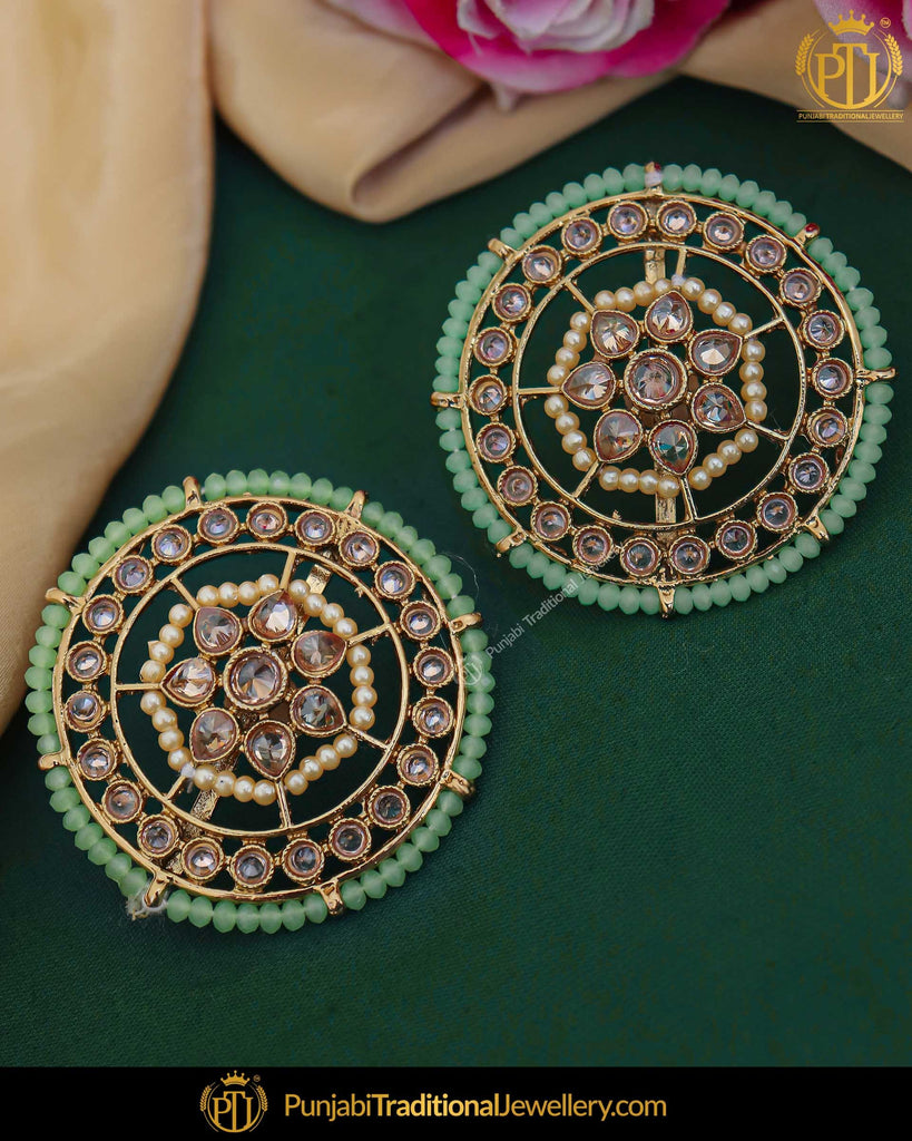 Gold Finished Green Champagne Stone Stud Earrings | Punjabi Traditional Jewellery Exclusive
