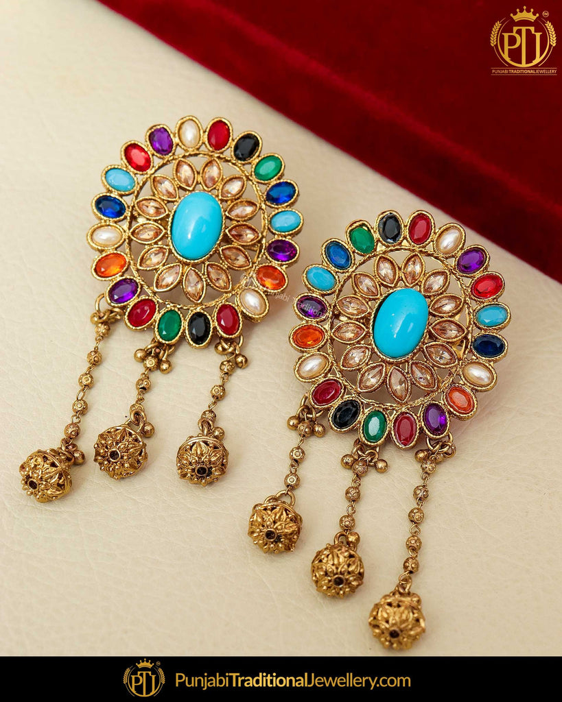 Gold Finished Chamapgne Stone Navratan Pearl Stud Earrings | Punjabi Traditional Jewellery Exclusive