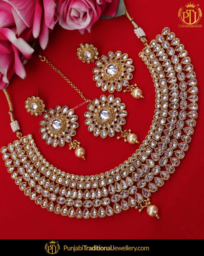 Antique Gold Finished Polki Necklace Set | Punjabi Traditional Jewellery Exclusive