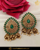 Gold Finished Chamapgne Stone Emerald Pearl Stud Earrings | Punjabi Traditional Jewellery Exclusive