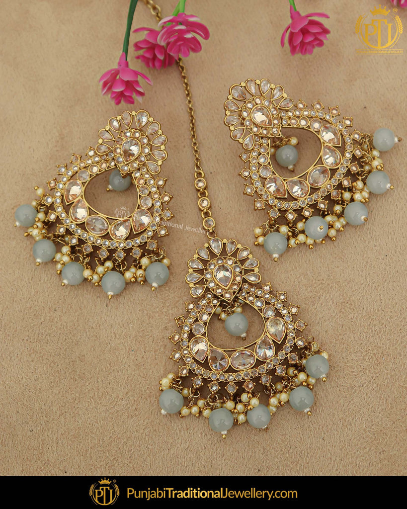 Antique Gold Finished Firozi Pearl Champagne Stone Earring Tikka Set | Punjabi Traditional Jewellery Exclusive