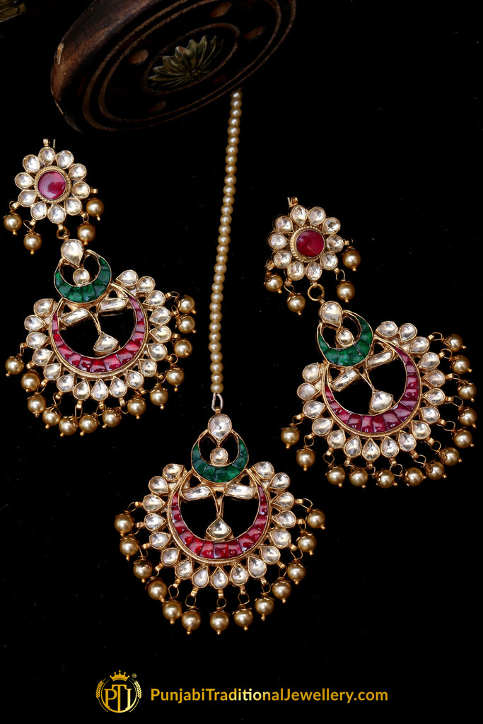 Rubby Panna Kundan Pearl Earring Tikka Set By Punjabi Traditional Jewellery